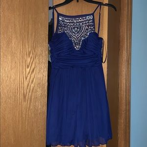 Royal Blue Bedazzled High Neck Juniors Dress